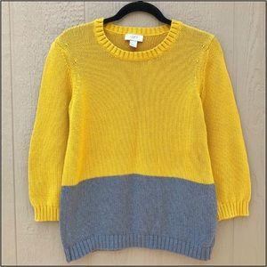 LOFT Mustard Yellow Gray 3/4 Sleeve Knit Sweater L